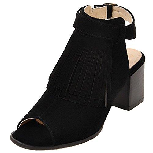TAOFFEN Femmes Mode Bottines Sandales Peep-Toe Bride Cheville Talon Haut Bloc Black