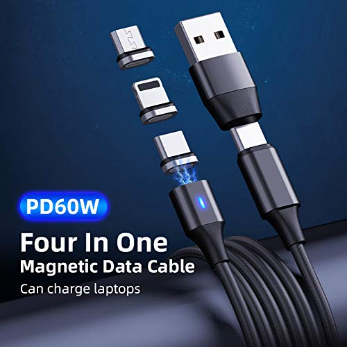 2M Black Sync Cable TECHSURGE 6-in-1 Braided Magnetic Multi-USB Charge 6 feet Compatible with All Phone Types Including USB-C and Micro USB to Ultra Fast USB-C or USB