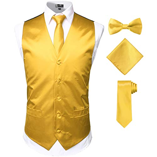 (ZEROYAA Men's Solid 4pc Shiny Satin Vest Necktie Bowtie Pocket Square Set for Suit or Tuxedo ZLSV12 Gold Large)
