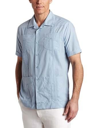 Cubavera Men's Short Sleeve Traditional Guayabera Shirt, Blue, 3X-Large