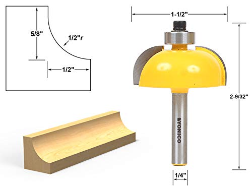 Yonico 13156q Cove Edging and Molding Router Bit with 1/2