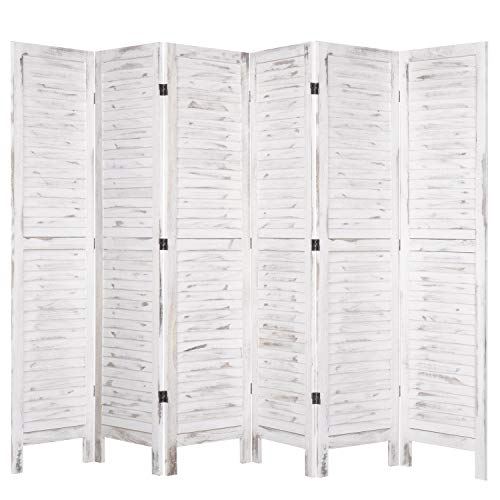 MyGift 6-Panel Whitewashed Wood Louvered Room Divider with Dual-Action Hinges
