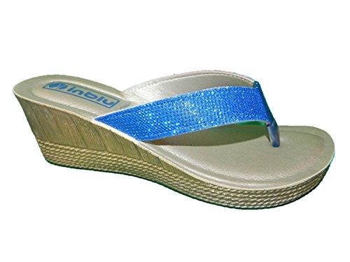 INBLU - Sandalias de vestir de piel sintética para mujer azul turquesa 37 azul Size: 37 VYQfju