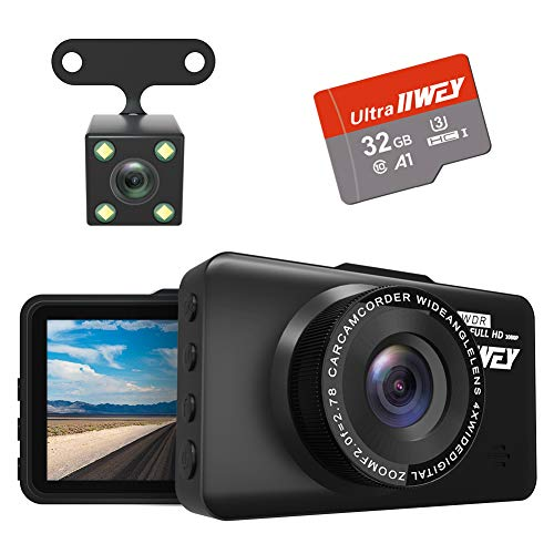 Dual Dash Cam Front and Rear FHD 1080P with Night Vision and SD Card Included, 3 Inch IPS Screen DVR Dash Camera for Cars, 170°Wide Angle Dashboard Camera Motion Detection Parking Monitor G-Sensor WDR