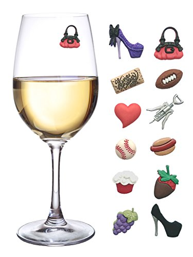 - His and Hers Magnetic Wine Charms & Stemless Glass Markers - Set of 12 - Fun Birthday, Hostess or Housewarming Gift by Simply Charmed