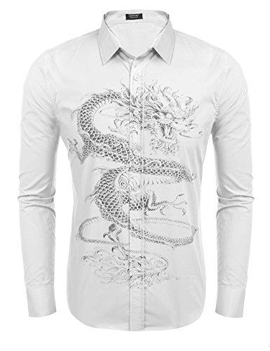 Coofandy Mens Print Dress Shirt Dragon Graphic Slim Fit Button Down Shirts White L White Dragon Shirt