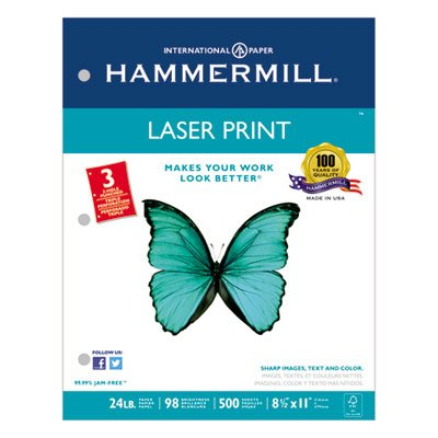Laser Print Office Paper, 3-Hole Punch, 98 Brightness, 24lb, Ltr, White, 500/Rm, Sold as 2 Ream by Hammermill