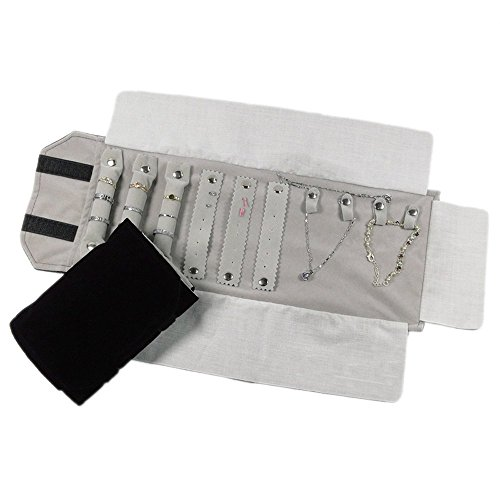 UnionPlus Small Velet Travel Jewelry Case Roll Bag Organizer for Necklace Bracelet Earrings Ring, Black ()