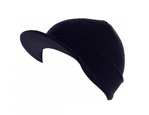Black_(US Seller)Skull Unisex Visor Beanies Hat Ski Cap Plain