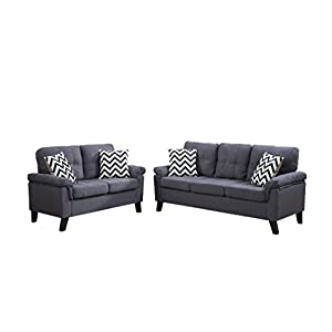 Poundex F6905 Bobkona Tyler Linen-Like 2 Piece Sofa and Loveseat Set, Blue Grey