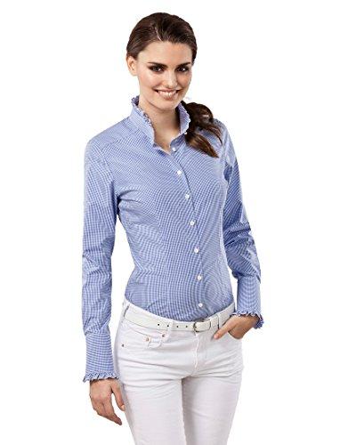 Bluse, modern-fit, Rüschenkragen, kariert - bügelfrei,38,blau