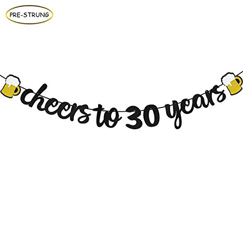 Joymee Cheers to 30 Years Black Glitter Banner for 30th Birthday Wedding Aniversary Party Supplies Decorations (Cheers to 30 Year Banner) ... -