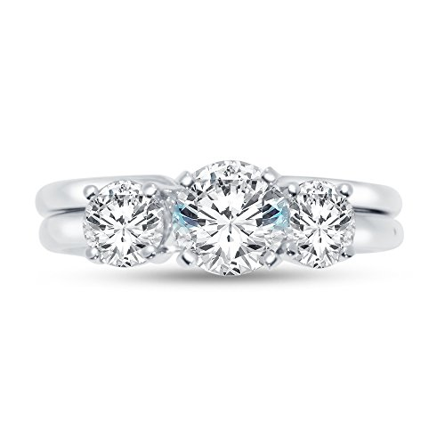 Sterling Silver Round Center Stone (Size - 10 - 925 Sterling Silver Round Insert To 3 Stone Bridal Engagement Ring & Wedding Band CZ Cubic Zirconia (2.0cttw., 1.0ct. Center))