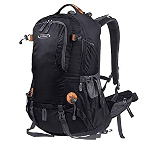 G4Free Hiking Backpack Outdoor Camping Climbing 50L Backpack for Backpacker with Rain Cover (Black)