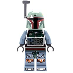 LEGO Star Wars Boba Fett Kids Minifigure Light Up Alarm Clock | green/blue | plastic | 9.5 inches tall | LCD display | boy girl | official