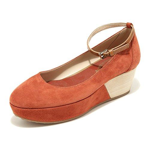 42790 TODS decollete zeppa scarpa donna shoes women arancione scuro