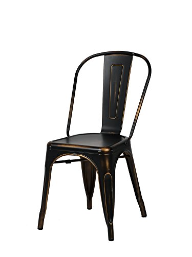 Commercial Seating (Commercial Seating Products MO-101-AB Oscar Metal Dining Chair, Antique Black)