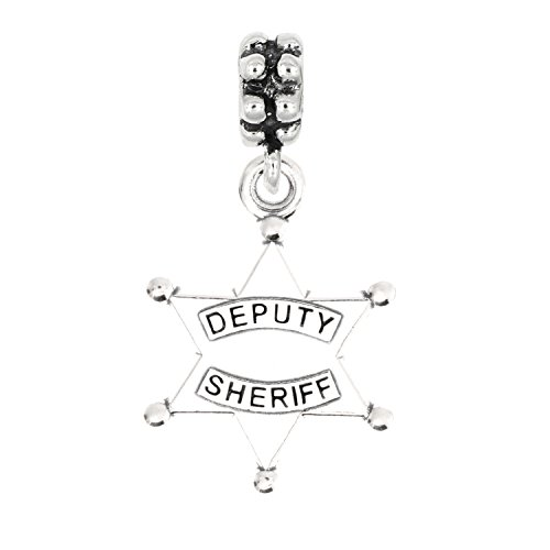 (Sterling Silver Oxidized Deputy Sheriff Badge Dangle Bead Charm)