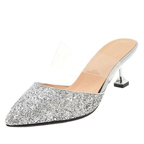 ENMAYER Frau Spitzschuh Pumps PU Schuhe Silber