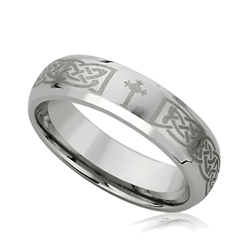 - 6MM Stainless Steel Mens Womens Rings Laser Etched Irish Celtic Knott Comfort Fit & Cross Wedding Bands SZ: 9