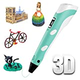3D Pen 3D Printing Drawing Pen Set for Kids,Professional 3D Doodler Pen with LED Display,Bonus 3 Colors PLA Filament Refills 33 Feet,Speed Printing&Temperature Control Safe and Easy for Kids&Adult