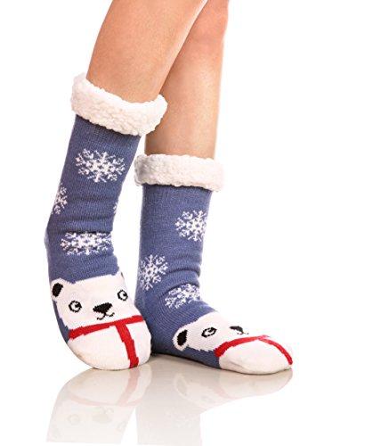 Womens Sherpa Winter Fleece Lining Knit Animal Socks Non Slip Warm Fuzzy Cozy Slipper Socks Snowman