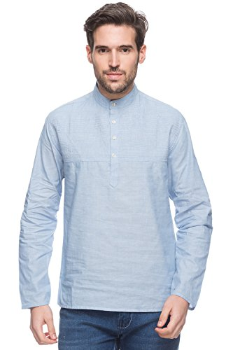 Shatranj Men's Indian Short Kurta Tunic Banded Collar Textured Shirt with Pin-Tucks; Light Blue; SM by Shatranj