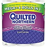 Quilted Northern(R) Ultra Plush 3-Ply Bathroom Tissue Mega Rolls, White, 330 Sheets Per Roll, Pack Of 12 Rolls