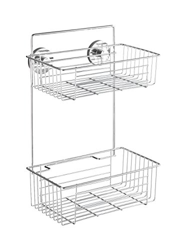 wenko-20889100-vacuum-loc-2-tier-wall-rack-bari-fixing-without-drilling-steel-102-x-15-x-67-inch-chrome