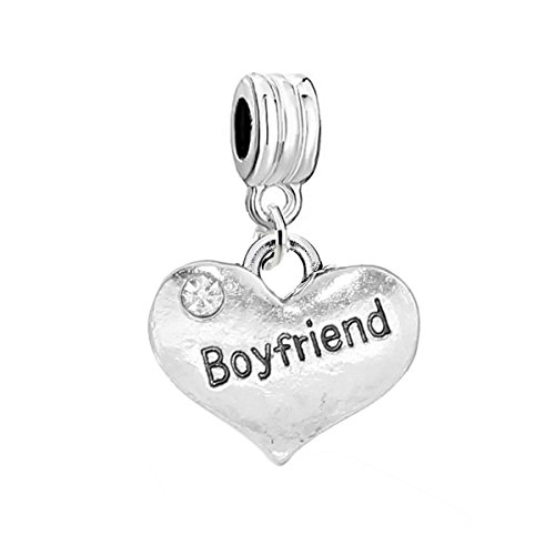 SEXY SPARKLES Boyfriend Heart Charm W/Clear Rhinestones Spacer European Charm Bracelet and Necklace Compatible