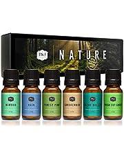 Nature Set of 6 Premium Grade Fragrance Oils - Forest Pine, Ocean Breeze, Rain, Fresh Cut Grass, Sandalwood, Bamboo - 10ml