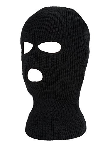 (Satinior 3-Hole Knitted Full Face Cover Ski Mask, Adult Winter Balaclava Warm Knit Full Face Mask for Outdoor Sports (Black))