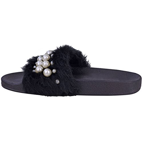 Fashion Thirsty Womens Ladies Flat Slip On Faux Fur Sliders Pearl Sandals Summer Slippers Size Black Faux Fur / Faux Pearl QDvngE