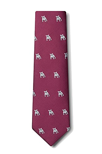 Mens Navy Blue French Bulldog Dog Animal Extra Long XL Tie Necktie (Burgundy) (Mens Navy Blue Bull)