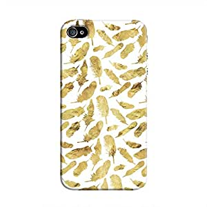 Cover It Up - Gold Feathers White Print iPhone 4/4s Hard Case
