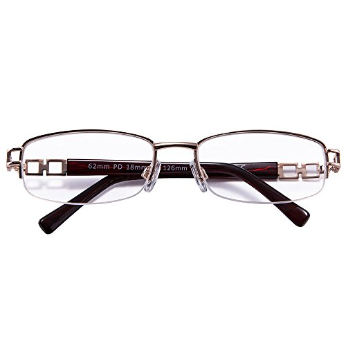 Price comparison product image Crystal Clear Women Readers Reading Glasses Half Rim Design Is Much Portable And Give No Disturbance During For Ladies With Gold Metal Wine Plastic Arm.