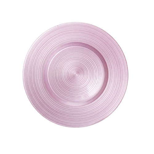 Koyal Wholesale Ripple Glass 4 Count Charger Plates, Pink