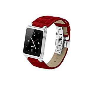 iWatchz Timepiece Collection - Correa de cuero para Nanoclipz para iPod Nano 6 y 7, color rojo