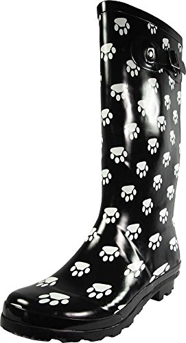 NORTY - Womens Hurricane Wellie Gloss Hi-Calf Paw Printed Rain Boot, Black, White 39209-9B(M) US by NORTY