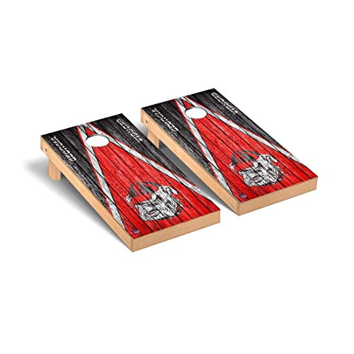 (Victory Tailgate Georgia Bulldogs Regulation Cornhole Game Set Triangle Weathered)