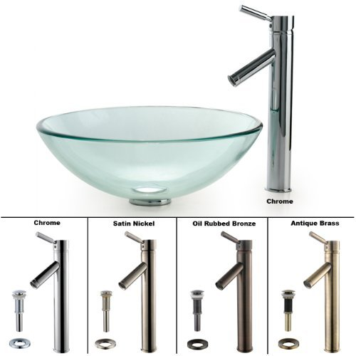 Kraus C-GV-101-12mm-1002SN Clear Glass Vessel Sink and Sheven Faucet, Satin Nickel ()