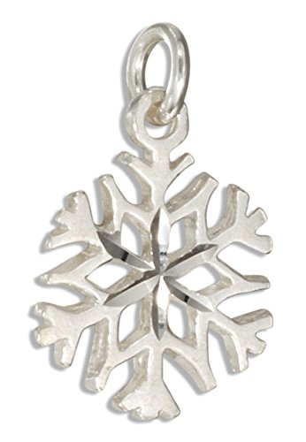 Sterling Silver Small Diamond Cut 4 Point Snowflake Charm (Cut Charm Diamond Snowflake)
