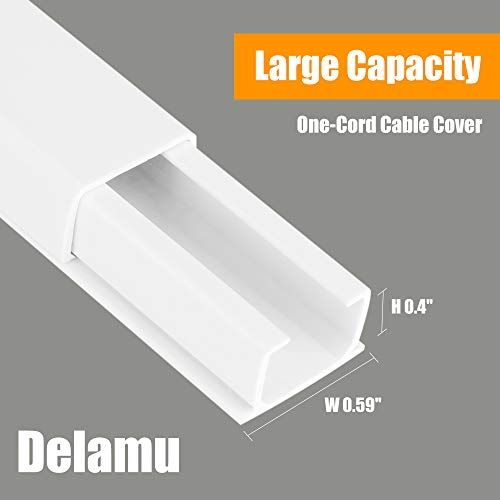One-Cord Wire Hider, 157'' Cable Concealer Channel, Mini Cord Covers Raceway Kit, Cable Management System to Hide a Single Ethernet Cable, Speaker Wire, Floor Lamp Cord, 10PCS L15.7 X W0.59 X H0.4 by Delamu (Image #1)