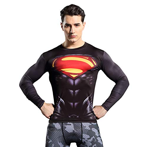 GYm GaLa Superman Classic Logo Men's Long Sleeve Compression Sport Fitness T-Shirt Suitable for Cosplay and Theme Party(L, Black) -