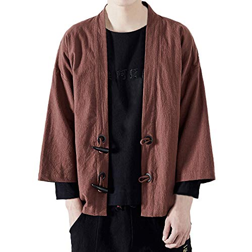 - ANJUNIE Men Japanese Yukata Coat Casual Kimono Outwear Cotton Vintage Loose Jacket(Coffee,XXL)