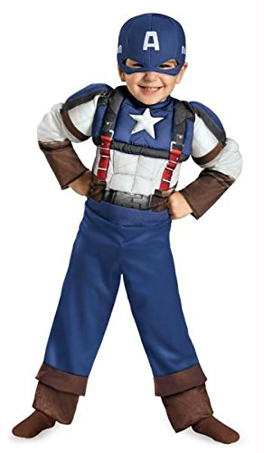 Disguise Marvel Captain America The Winter Soldier Movie 2 Captain America Retro Toddler Muscle Costume, Medium -