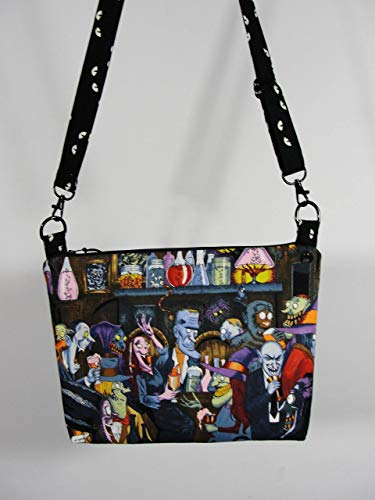 Handmade Fabric Halloween Purse witches, ghouls and goblins