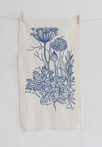 Printed Tea Towel - Culinary Herb Tea Towel in Blue-violet - Flour Sack Towel - Natural Cotton Kitchen Towel - Botanical Print - Hand Printed Tea Towel