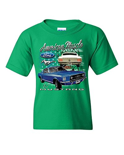 Ford Mustang Shelby 1967 GT Youth T-Shirt American Made Muscle Cars Kids Tee Green ()