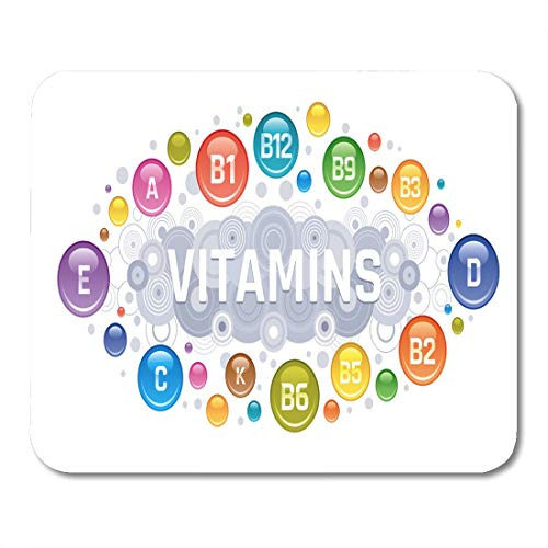 """Emvency Mouse Pads Acid Multi Vitamin Complex B Group B1 B2 B3 Mouse Pad for notebooks, Desktop Computers mats 9.5"""" x 7.9"""" Office Supplies"""